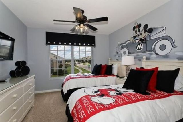 shared bedroom in black, red and white