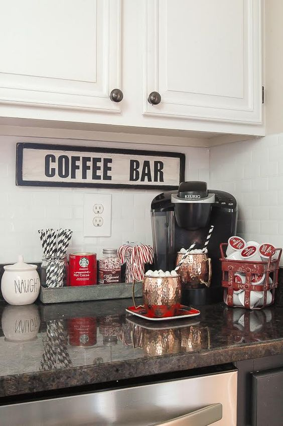 small nook coffee station with all the sweets necessary
