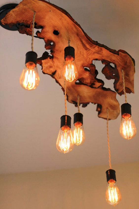 stunning live edge wooden chandelier with bulbs