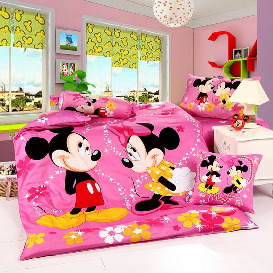 super bold pink and neon yellow Mickey loves Minney bedroom
