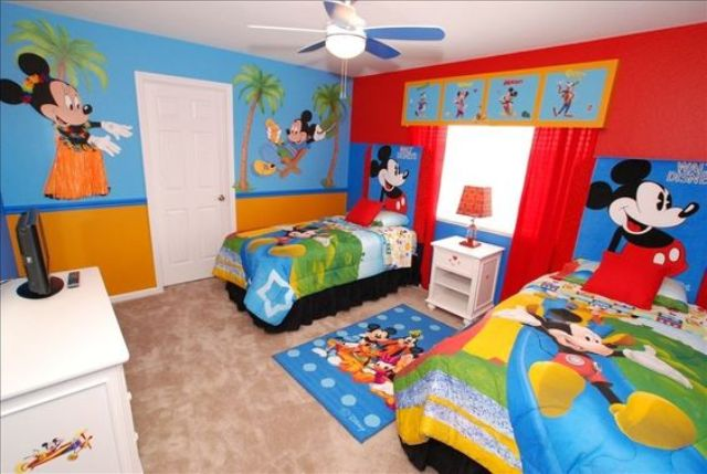 Inspirational super colorful Mickey Mouse shared bedroom in red and light blue