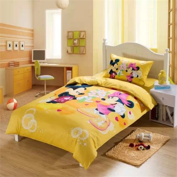 yellow room decor with Mickey and Minnie Mouse bedding. 27 Mickey Mouse Kids  Room D cor Ideas You ll Love   Shelterness