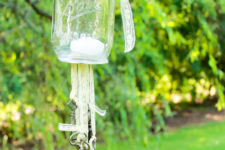 DIY antique key wind chimes with a candle holder (via domesticallyblissful.com)