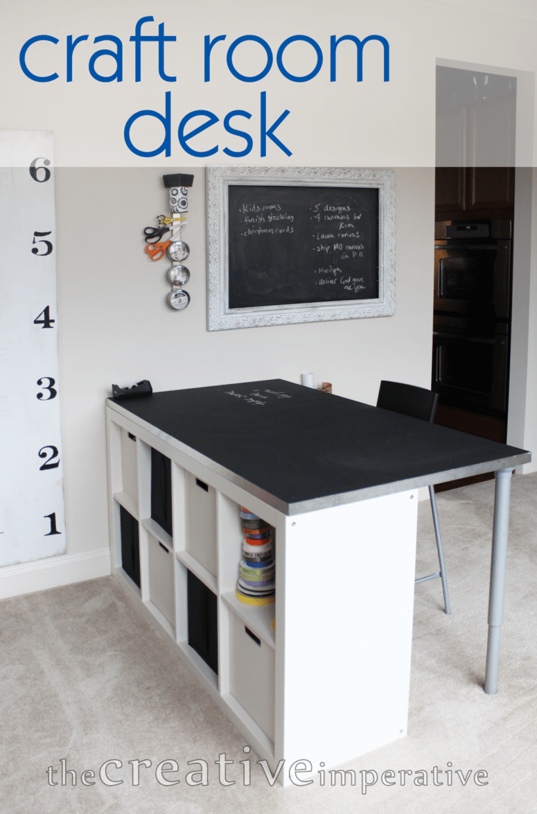 diy craft room desk with shelves via