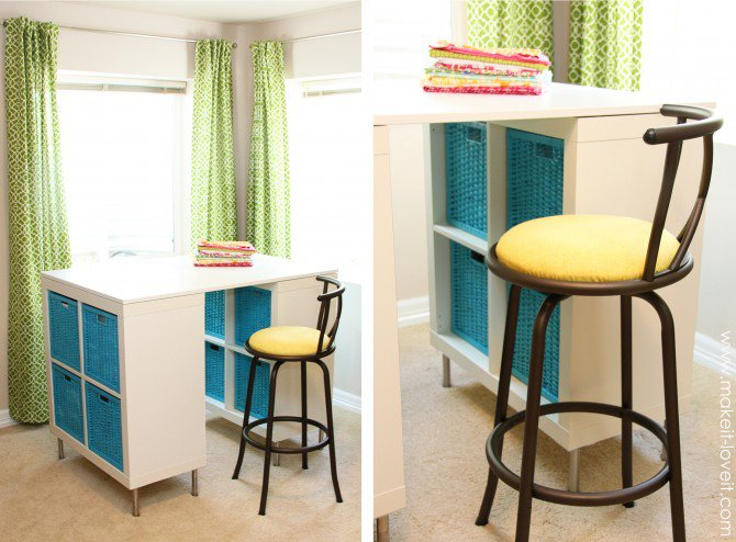 DIY counter height crafting table from shelves and a top (via www.makeit-loveit.com)