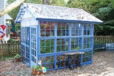 big DIY blue greenhouse from old windows