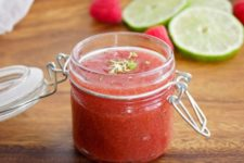 DIY raspberry lime sugar scrub