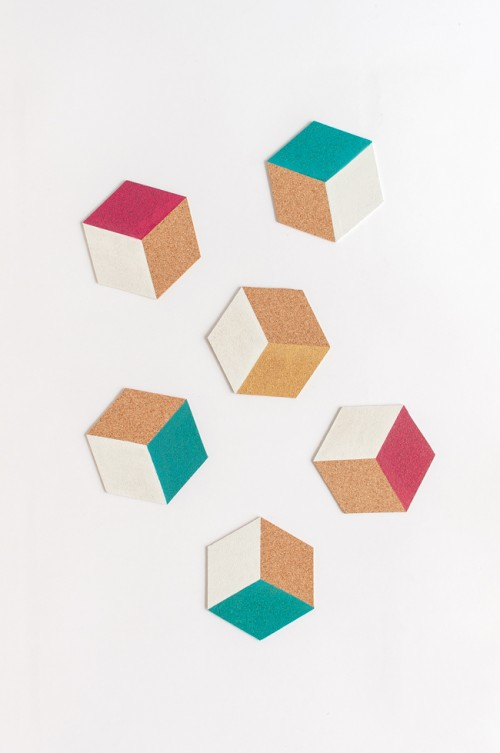 DIY hexagon color block coasters (via www.shelterness.com)