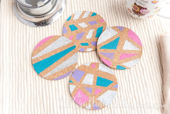DIY geometric painted cork coasters (via titicrafty.com)