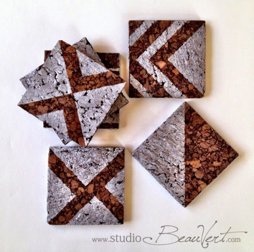 DIY whitewashed stencil cork coasters (via www.shelterness.com)