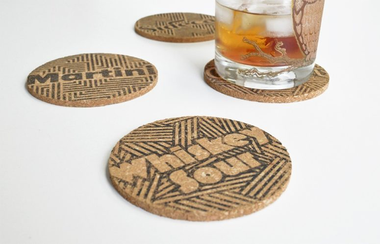 DIY typographic cork drink coasters (via blog.fairgoods.com)