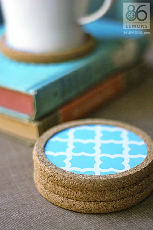 DIY cork coasters decorated with contact paper (via www.shelterness.com)