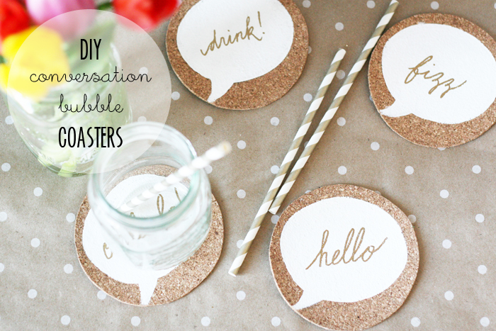 DIY cork conversation bubble coasters (via www.mylittlesecrets.ca)