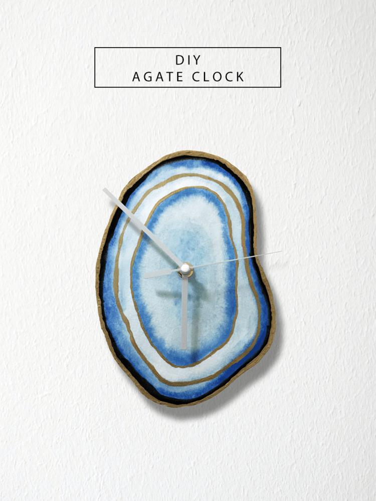 DIY agate clock (via www.drawntodiy.com)