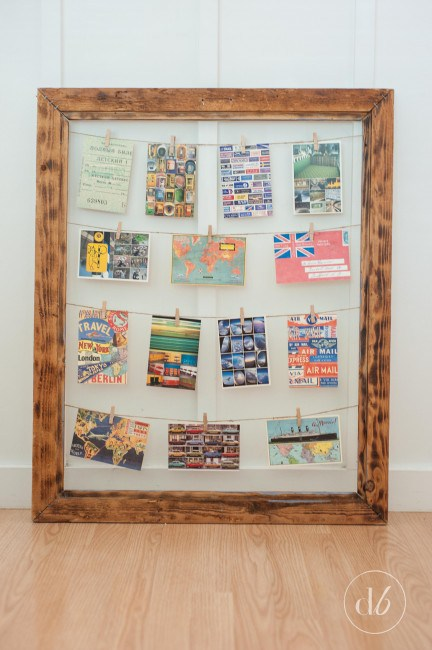 DIY photo frame an clothespins photo display (via www.dwellbeautiful.com)