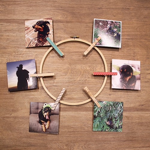 DIY Instagram photo wreath with clothespins (via www.shelterness.com)