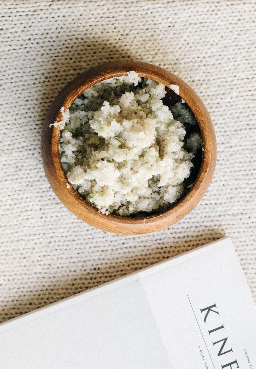 DIY chamomile ginger salt scrub