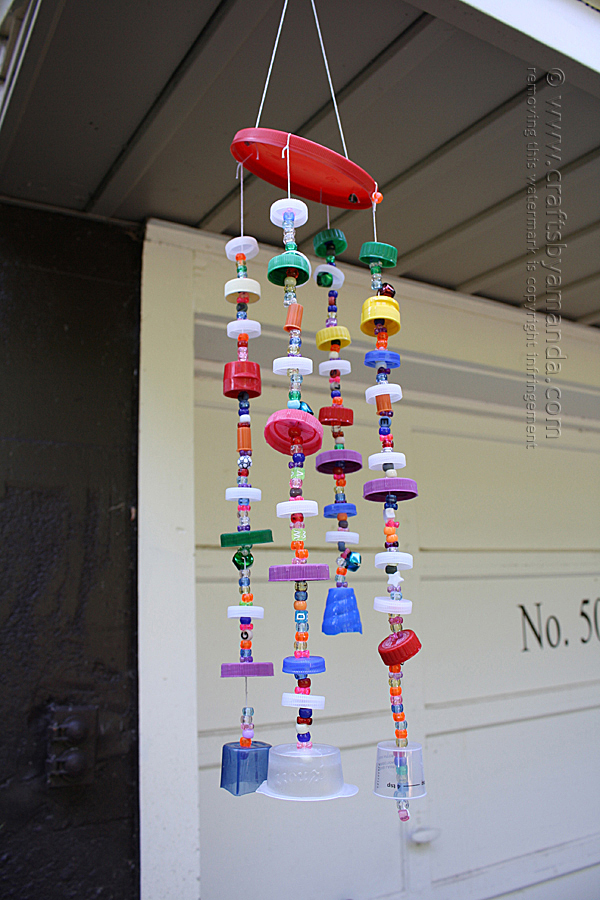 DIY recyled plastic lid wind chimes