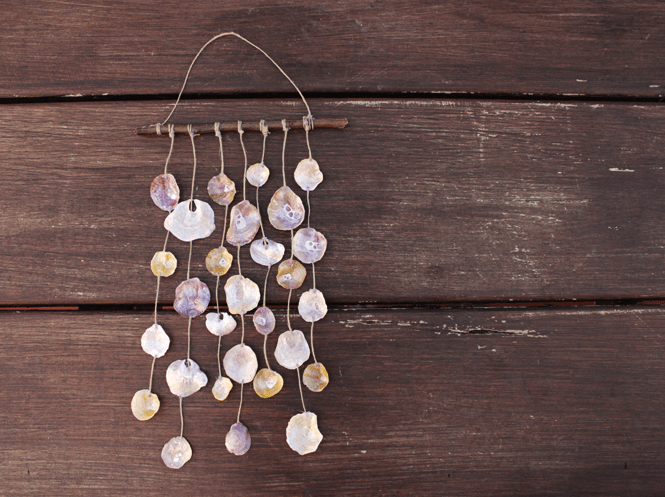 DIY seashell and wood wind chime