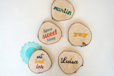 DIY wood slice coasters with quotes and words