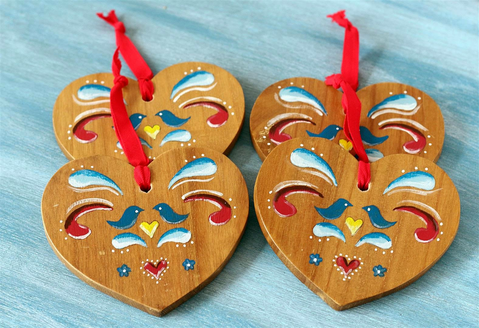 DIY painted lacquer wood heart coasters