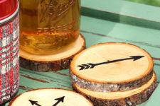 DIY arrow wood slice coasters