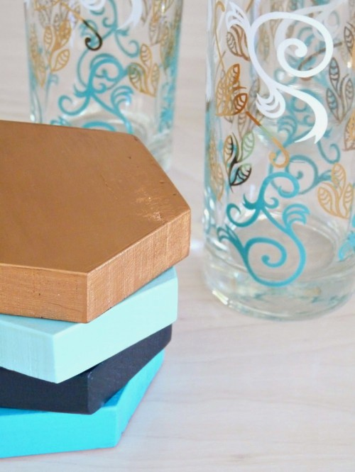 DIY hexagon wood coasters in various colors (via www.shelterness.com)