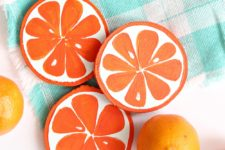 DIY orange slice coasters of wood