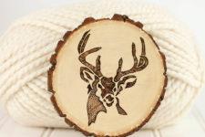 DIY wood burnt deer coasters