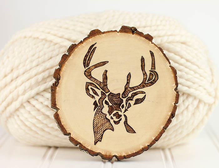 DIY wood burnt deer coasters (via www.gina-michele.com)