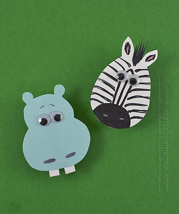 DIY hippo and zebra clothespins magnets (via craftsbyamanda.com)