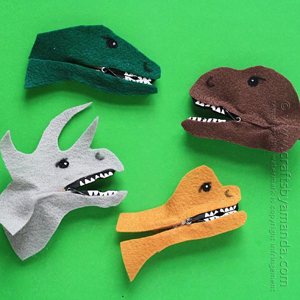 DIY clothespins dinosaur heads (via craftsbyamanda.com)