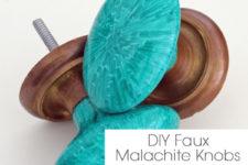DIY faux malachite knobs (via www.schoolofdecorating.com)