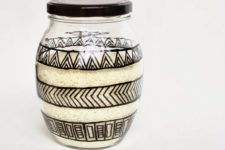 DIY tribal print glass canister (via www.acasarella.net)