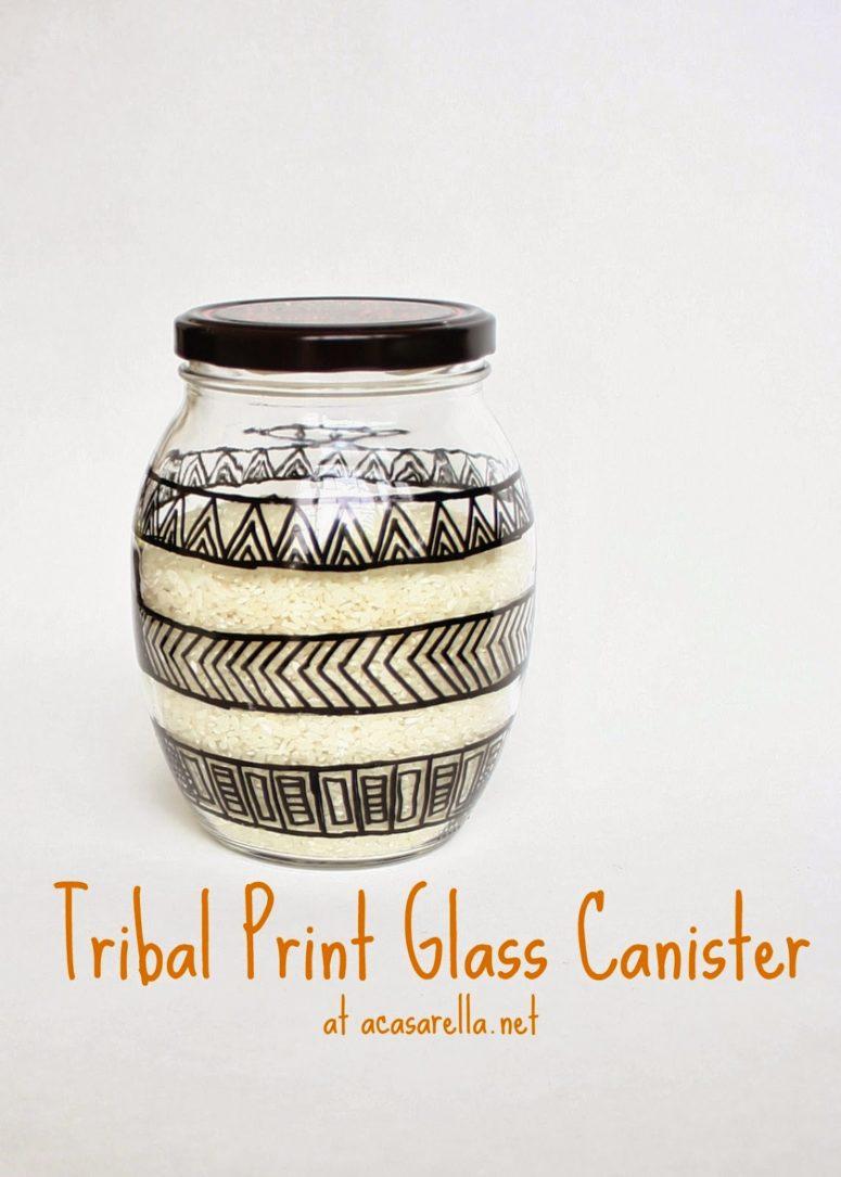 DIY tribal print glass canister (via www.acasarella.net)