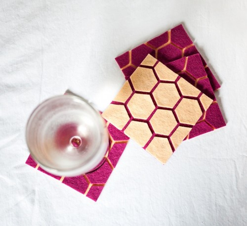 DIY hexagon felt coasters (via www.shelterness.com)