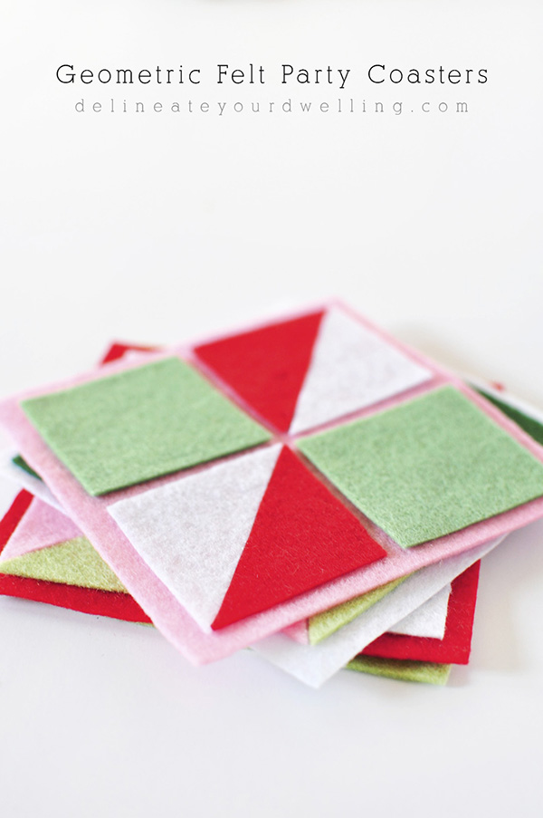 DIY geometric felt party coasters (via www.delineateyourdwelling.com)