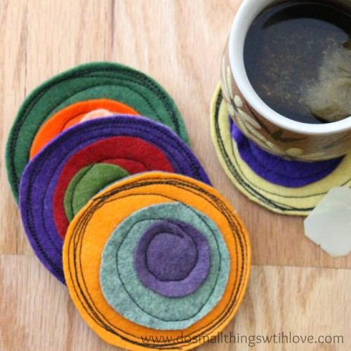 DIY colorful felt coasters (via www.shelterness.com)