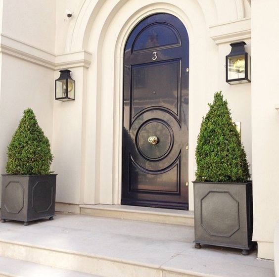 a black front door, black planters with boxwood for a chic look