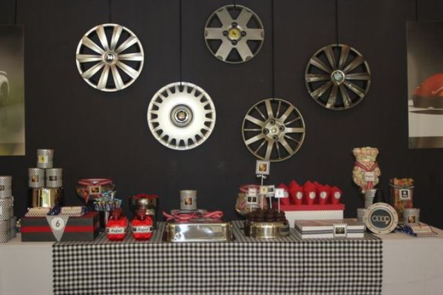 car-themed birthday party decor