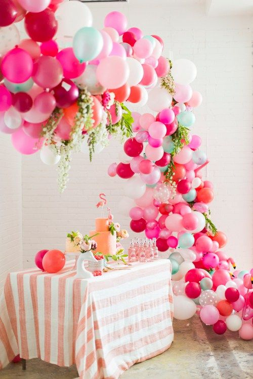 colorful balloon arch for the dessert table, flamingo-styled bridal shower