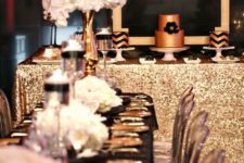 02 elegant glam black and gold 30th birthday party with white florals