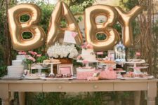 02 giant gold BABY balloons are the most popular decorations for any baby shower