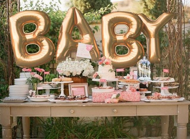 giant gold BABY balloons are the most popular decorations for any baby shower