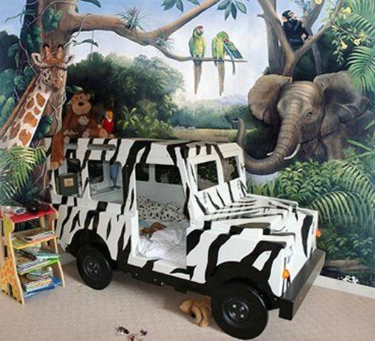 jungle safari room with a zebra-printed van bed