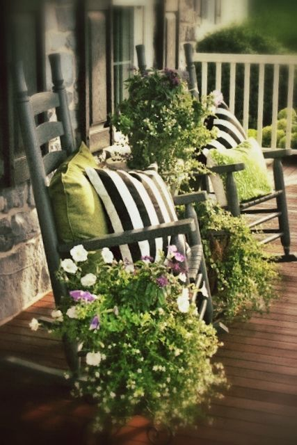 your chairs can hold greenery and flower arrangements