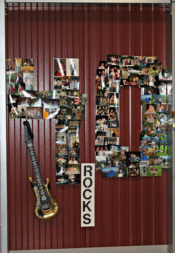 40th birthday photo collage with a guitar