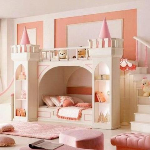 a castle bed can have a lot of storage space and lights to make your daughter feel more comfortable