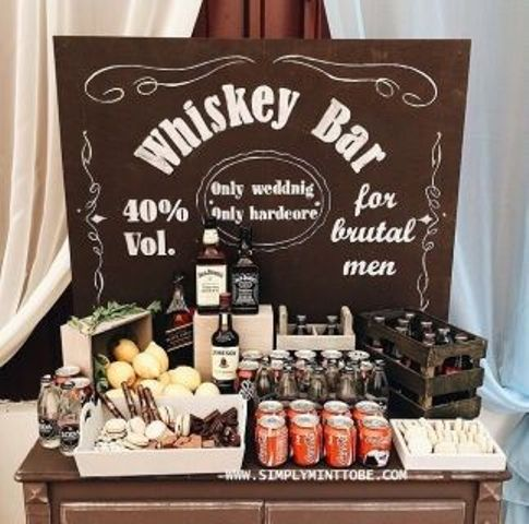 a whiskey bar is a must for a 50th birthday party