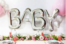 03 silver baby balloon letters for a backdrop
